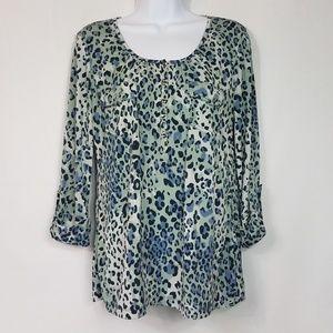 Roz & Ali Animal Print Blouse  Blue Size M  A93